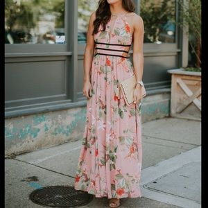 Express floral maxi cutout dress in coral